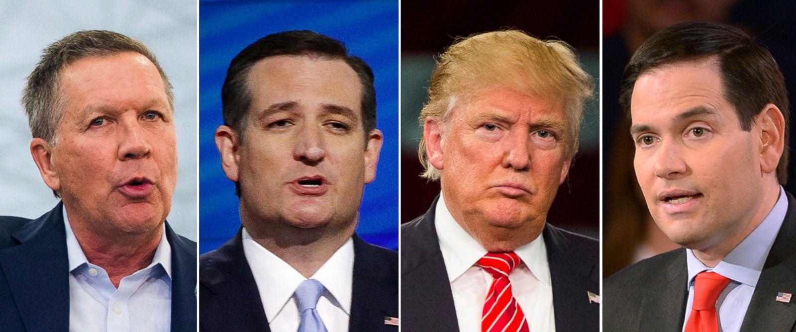 PHOTO: Gov. John Kasich, Sen. Ted Cruz, Donald Trump and Sen. Marco Rubio.