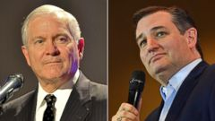 PHOTO: Pictured (L-R) are Dr. Robert Gates, former Secretary of Defense in Huntsville, Ala., Oct. 11, 2012 and Republican presidential candidate Sen. Ted Cruz in Fort Wayne, Ind., April 28, 2016.
