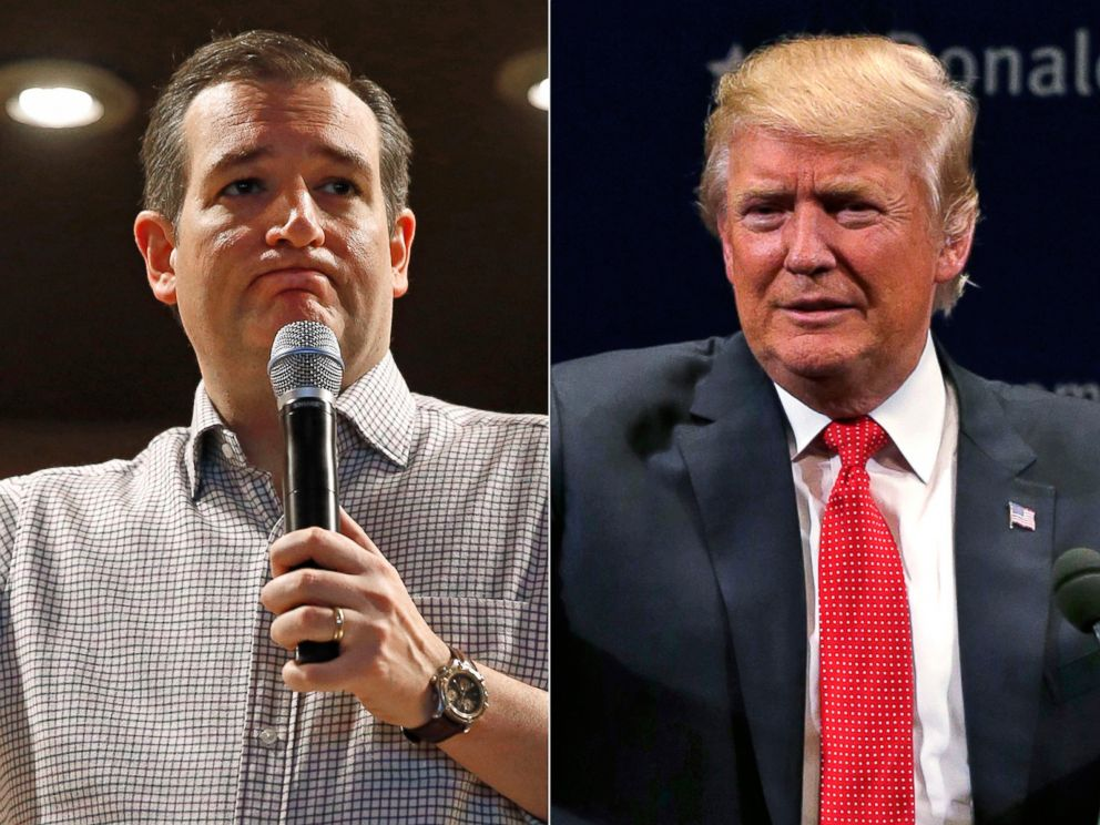 PHOTO: Pictured (L-R) are Republican presidential candidates Sen. Ted Cruz in Mason City, Iowa, Jan. 8, 2016 and Donald Trump in Burlington, Vt., Jan. 7, 2016.