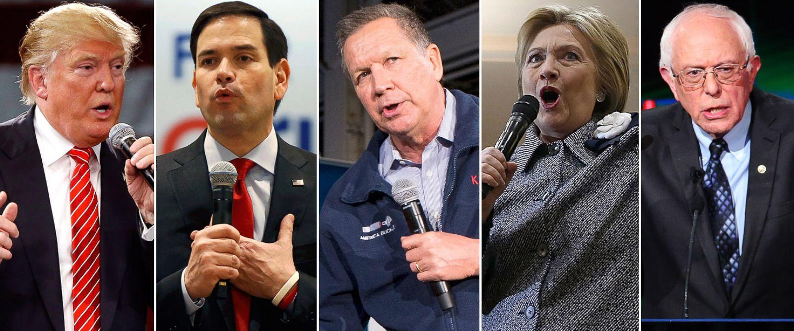 PHOTO: Donald Trump, Marco Rubio, John Kasich, Hillary Clinton and Bernie Sanders campaign for president.