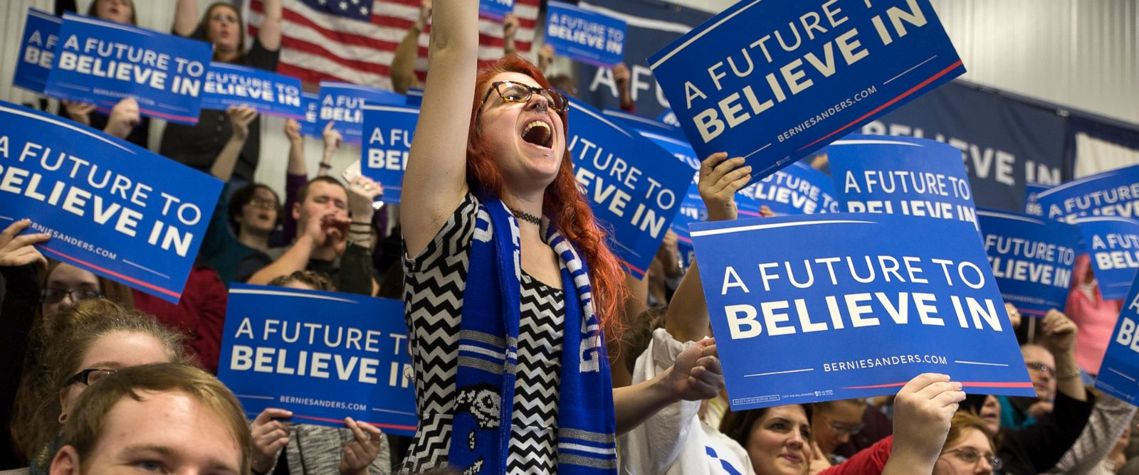 PHOTO:Ainsley-Aude Croteau, center, shouts out her support for Bernie Sanders while he speaks at a Get Out the Vote Rally at Great Bay Community College Gymnasium in Portsmouth, N.H.