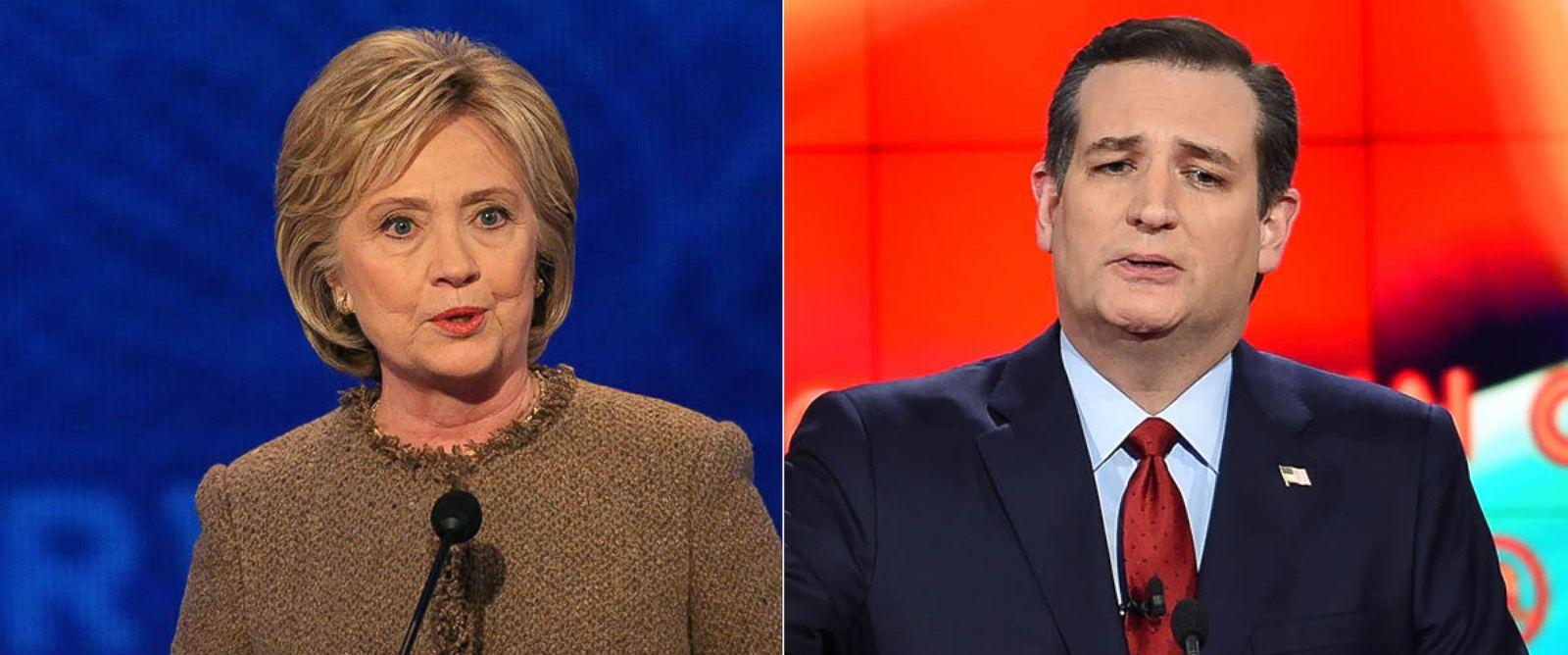 PHOTO: Ted Cruz at the Republican Presidential Debate, Dec. 15, 2015 in Las Vegas. Hillary Clinton at the Democratic Presidential Debate, Dec. 19, 2015 in Manchester, New Hampshire.