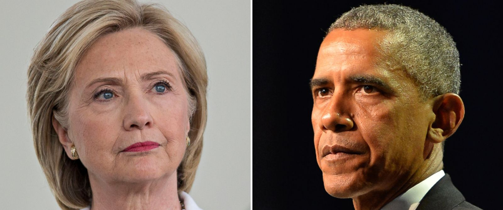 PHOTO: Hillary Clinton, former U.S. secretary of state and 2016 Democratic presidential candidate, at an event on Aug. 26, 2015 in Ankeny, Iowa and President Barack Obama speaks at the Phoenix Awards Dinner on Sept. 19, 2015 in Washington.