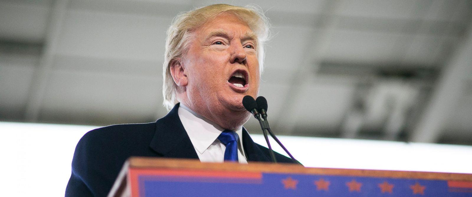 PHOTO:Donald Trump speaks at a rally held at Signature Flight Hangar in Columbus, Ohio, March 1, 2016.