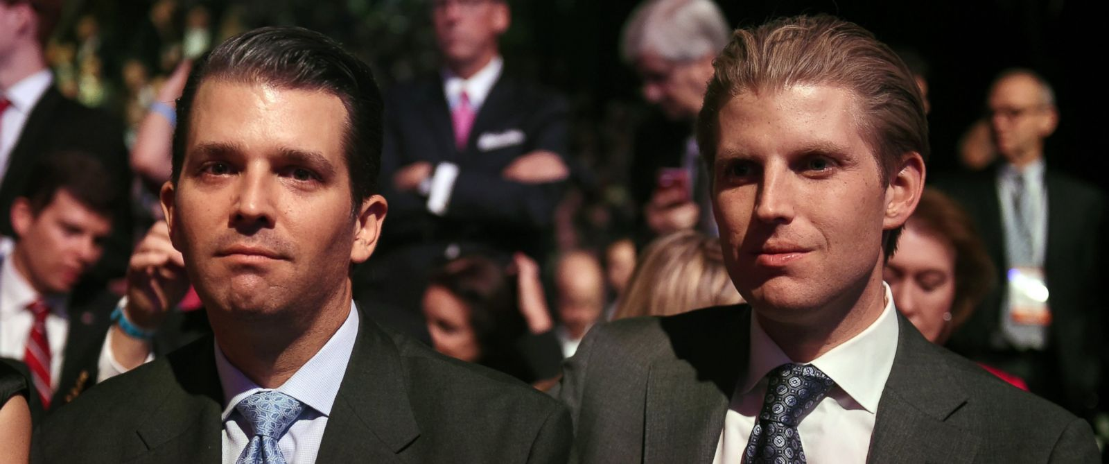 PHOTO: Donald Trumps sons Donald Trump Jr.and Eric Trump wait for the start of the CNBC Republican Presidential Debate, Oct. 28, 2015, at the Coors Event Center at the University of Colorado in Boulder, Colo.