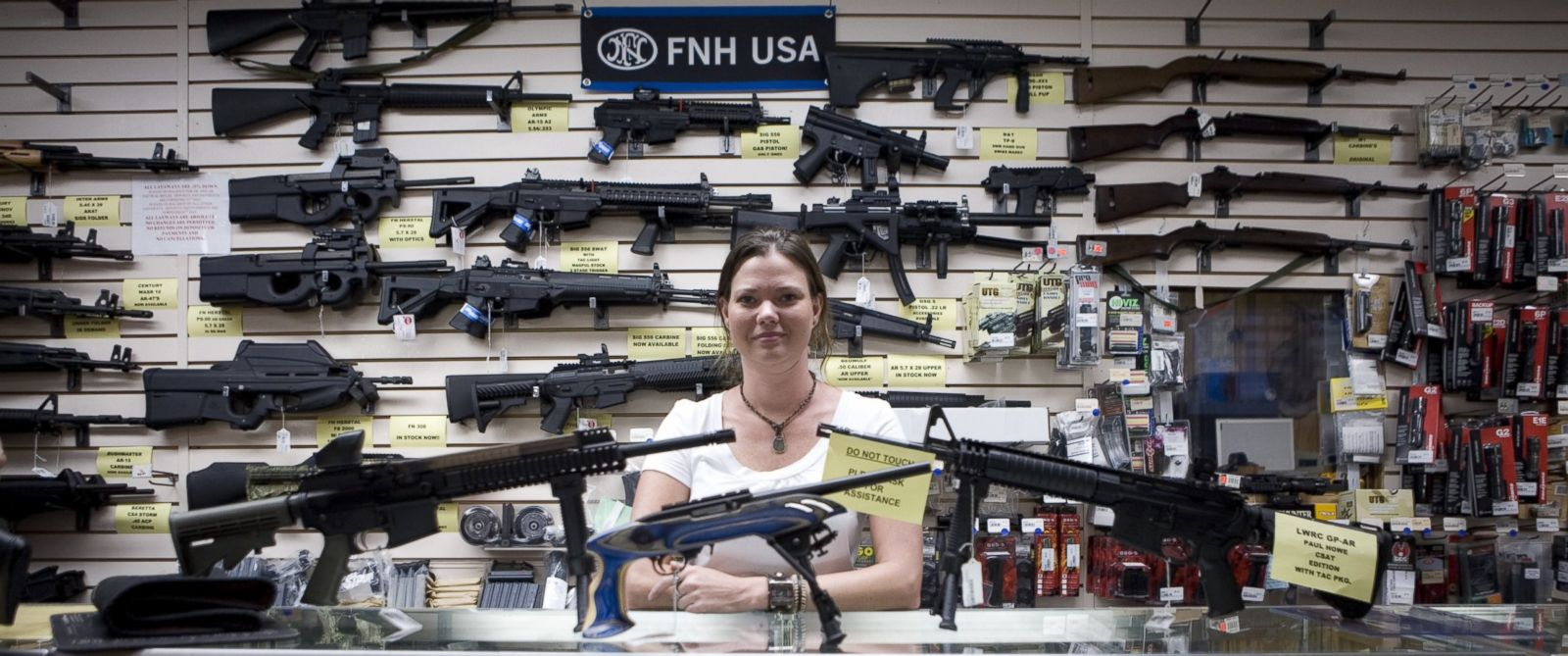 PHOTO: Gina Brewer, the manager of Texas Gun, one of the 6,700 gun dealers located near the 2,000 miles long U.S.-Mexico border, insists that she has not sold weapons to Mexican drug cartels representatives, in San Antonio on June 17 2009.