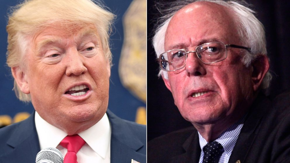 PHOTO:Donald Trump speaks at a press conference, April 17, 2016, in Staten Island, New York. Bernie Sanders speaks at the Founders Day Dinner, April 2, 2016, in Milwaukee.