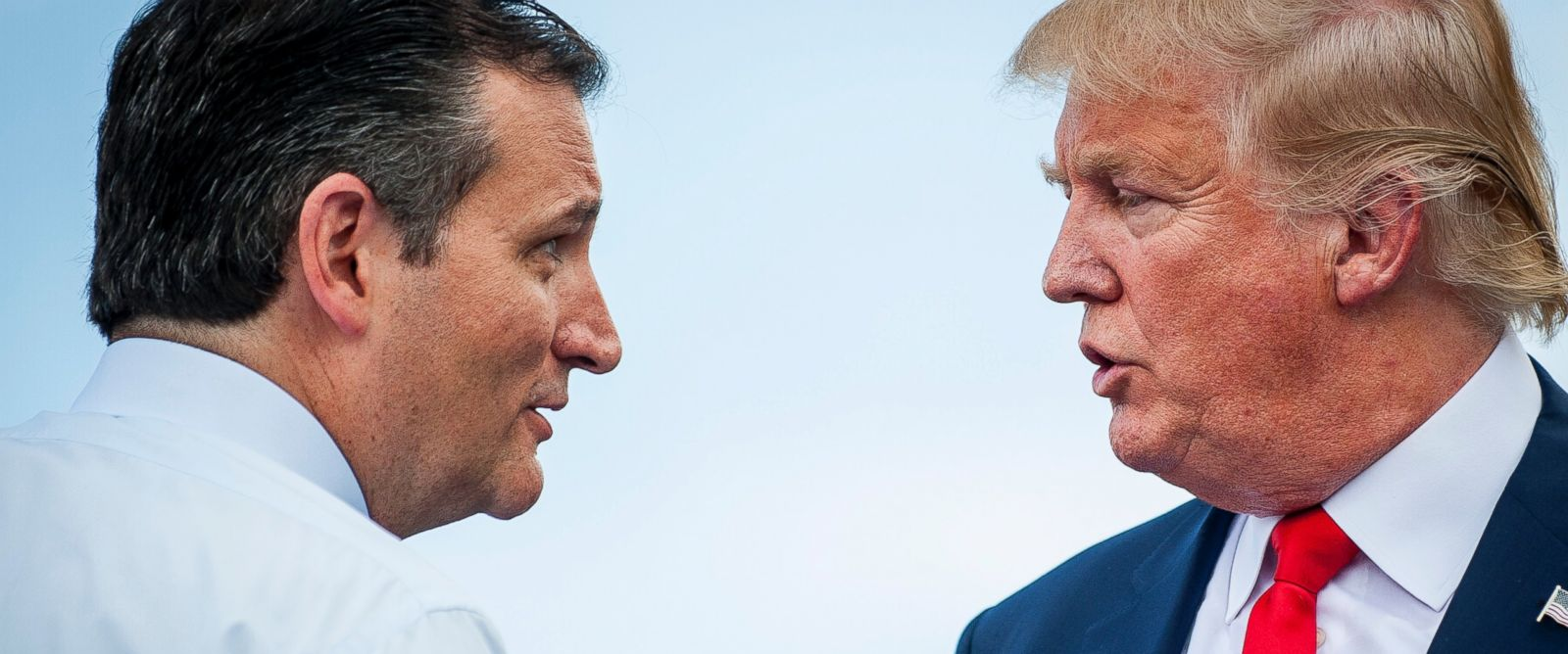 PHOTO:Ted Cruz speaks with Donald Trump during a Tea Party Patriots rally against the Iran nuclear deal on Capitol Hill in Washington, Sept. 9, 2015.