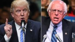 PHOTO:Donald Trump speaks at a campaign rally, May 25, 2016, in Anaheim, Calif. Bernie Sanders speaks during a rally in Atlantic City, N.J., May 9, 2016.