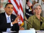 PHOTO: U.S. President Barack Obama makes opening remarks at a bipartisan summit on health care as Kathleen Sebelius, U.S. secretary of health and human services, listens at right, in Washington, Feb. 25, 2010.
