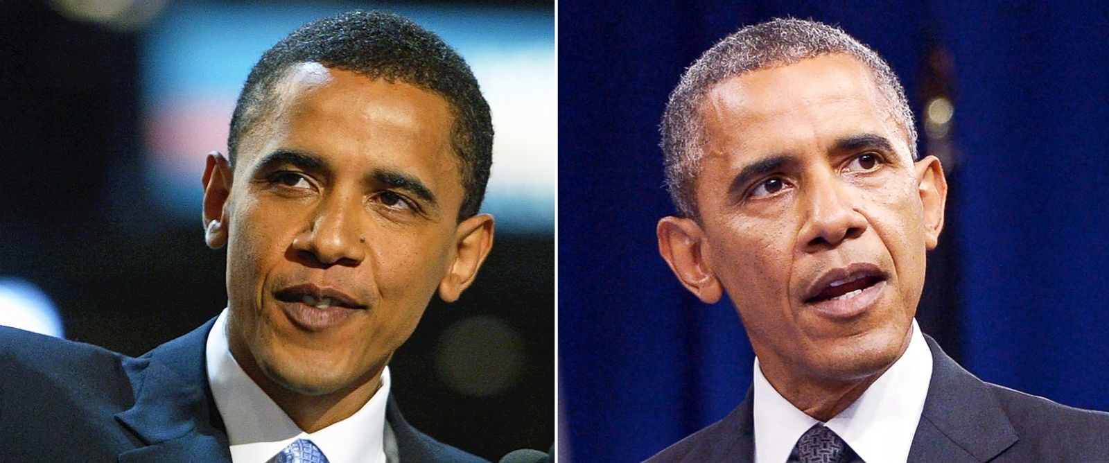 PHOTO: Then-U.S. Senate candidate Barack Obamas hair was significantly darker when he gave the keynote speech at the Democratic National Convention in 2004 (left) than he has now as a second-term President (seen at right on July 28, 2014).