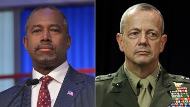 PHOTO: (L-R) Ben Carson participates in the Republican presidential primary debate in Cleveland, Ohio, Aug. 6, 2015 and U.S. General John Allen attends a media conference at NATO headquarters in Brussels, Oct. 10, 2012.