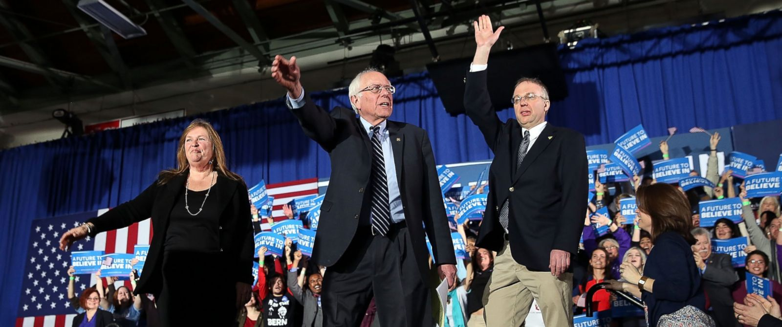PHOTO: Democratic presidential candidate Sen. Bernie Sanders walks ontostage with his wife Jane OMeara Sanders after declaring victory over Hillary Clinton in the New Hampshire Primary, Feb. 9, 2016 in Concord, N.H.