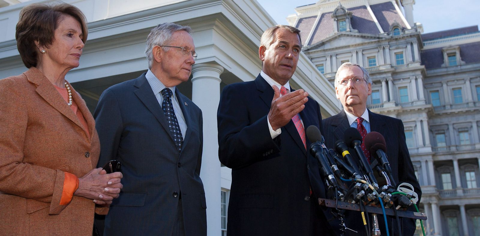 PHOTO: From left, John Boehner, Nancy Pelosi, Harry Reid and Mitch McConnell.