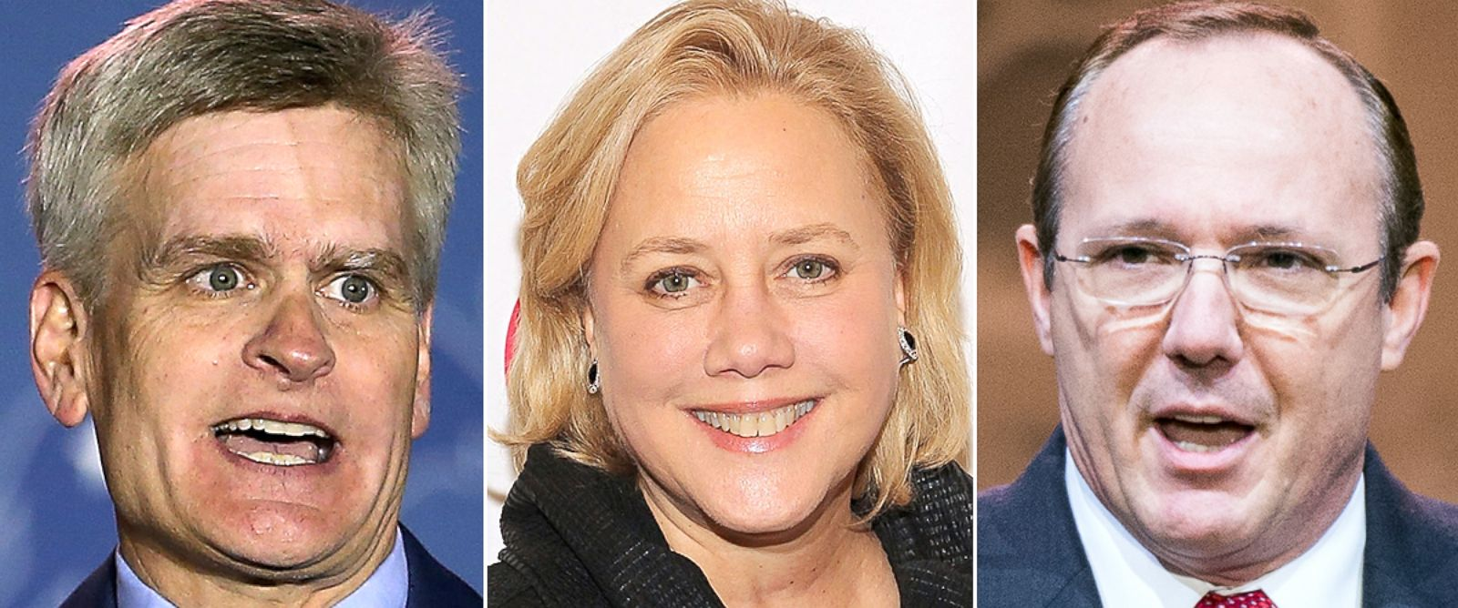 PHOTO: Rep. Bill Cassidy, left, Sen. Mary Landrieu, and Rob Maness are all running for U.S. Senate in Louisiana.