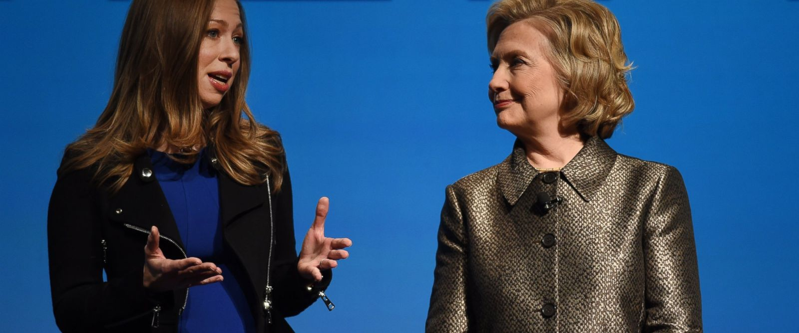PHOTO: Chelsea and Hillary Clinton speak during a womens equality event, March 9, 2015 in New York.