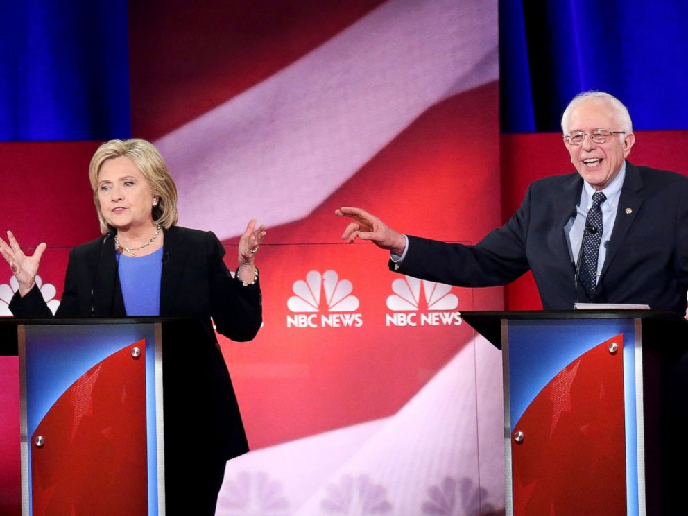 PHOTO: Hillary Clinton and Senator Bernie Sanders participate in the Democratic Candidate Debate hosted by NBC News and YouTube, Jan. 17, 2016, in Charleston, South Carolina.