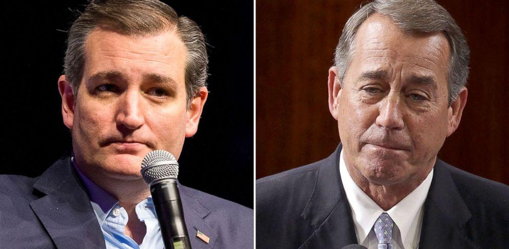 PHOTO: Ted Cruz, left, John Boehner, right.