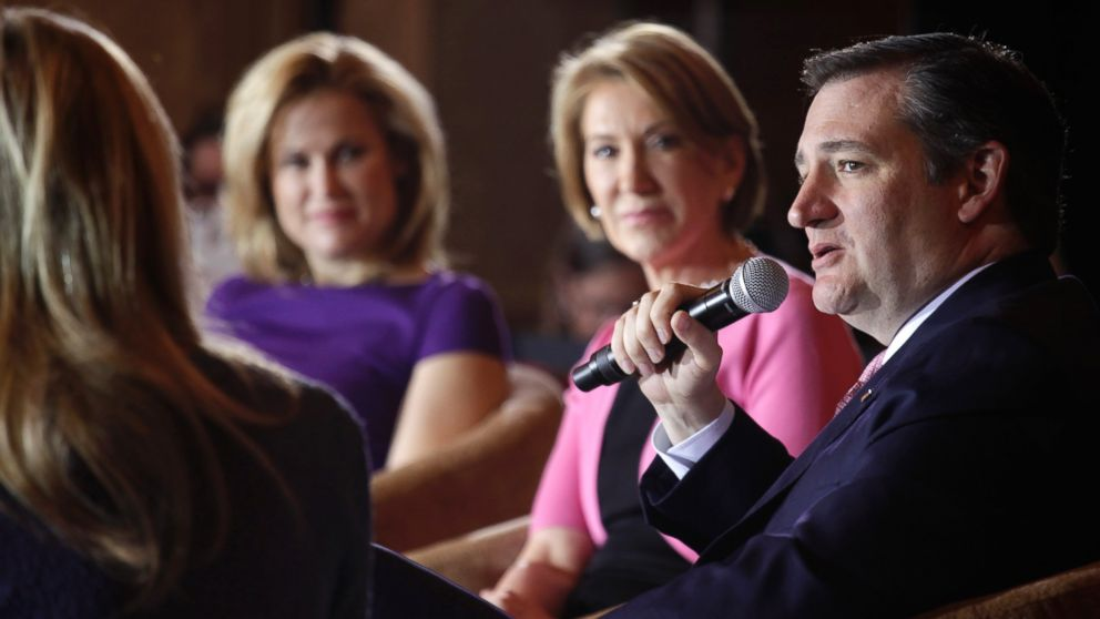 "PHOTO: Republican presidential candidate Sen. Ted Cruz speaks to guests at a town hall event called ""Women for Cruz"" Coalition Rollout with wife Heidi, mother Eleanor Cruz, and former Republican candidate Carly Fiorina, March 30, 2016 in Madison, Wis."