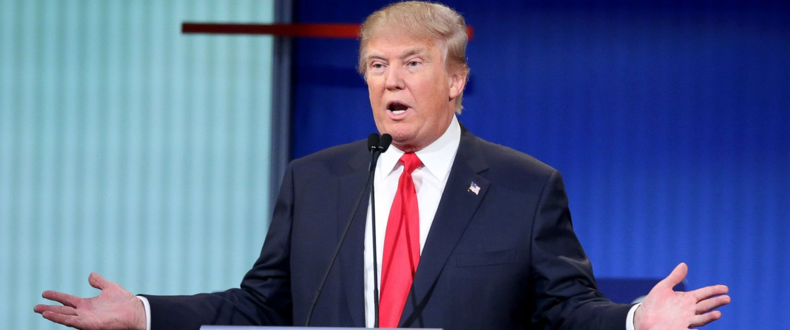 PHOTO: Republican presidential candidate Donald Trump fields a question during the first Republican presidential debate hosted by Fox News and Facebook at the Quicken Loans Arena, Aug. 6, 2015, in Cleveland.