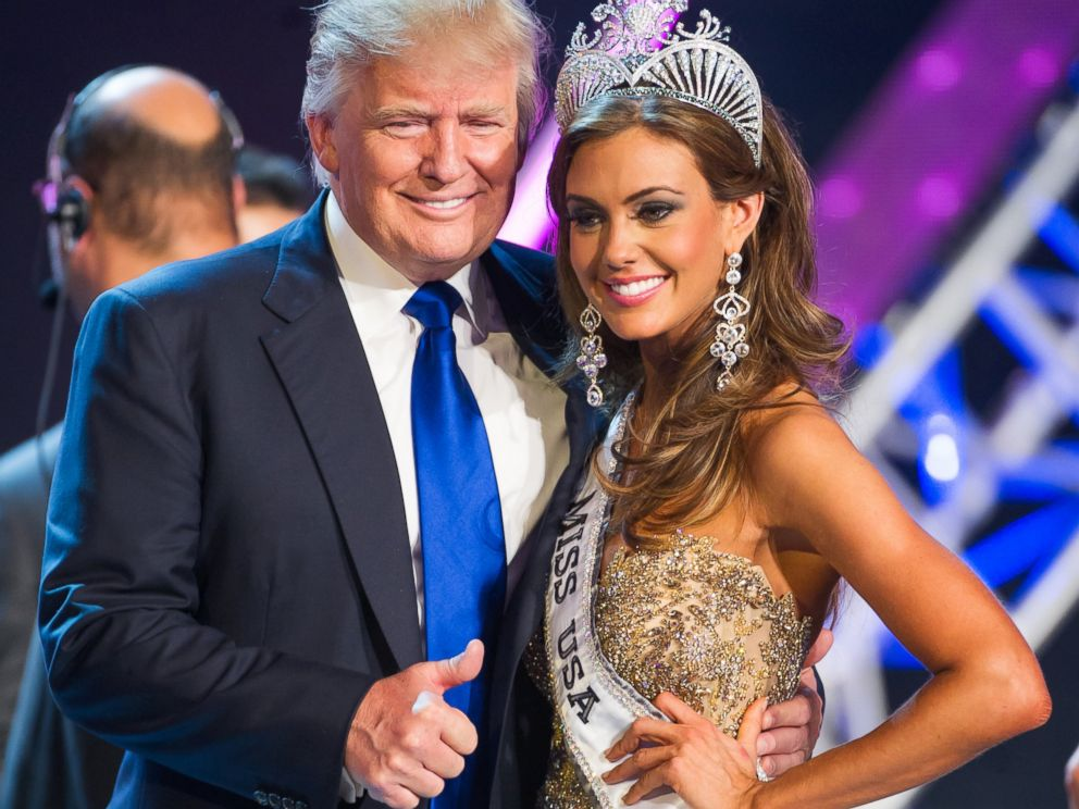 PHOTO:Donald Trump and Miss Connecticut USA Erin Brady poses onstage after winning the 2013 Miss USA pageant, June 16, 2013, in Las Vegas.