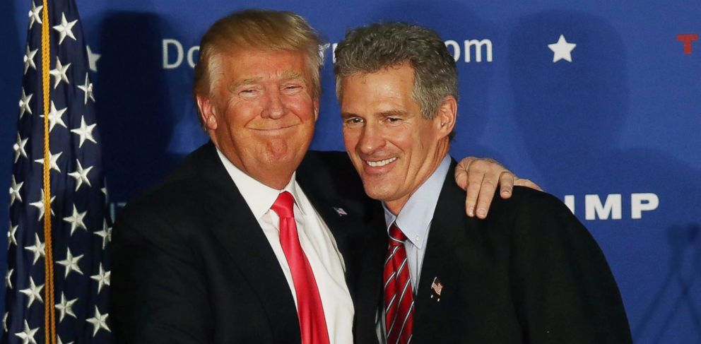 PHOTO: Republican Presidential candidate Donald Trump hugs former Massachusetts senator Scott Brown as he endorses him for president during a campaign event at Hampshire Hills Athletic Club, Feb. 2, 2016 in Milford, Iowa.