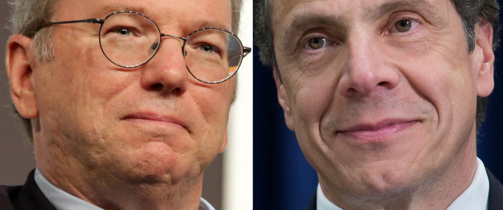 PHOTO: From left, Executive Chairman of Google Eric Schmidt in Austin, Tex., March 7, 2014 and New York State Governor Andrew Cuomo in New York, April 17, 2014.