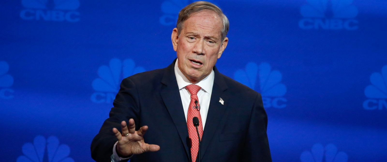 """PHOTO: George Pataki participates in CNBCs """"Your Money, Your Vote: The Republican Presidential Debate"""" live from the University of Colorado Boulder in Boulder, Color., Oct. 28, 2015."""
