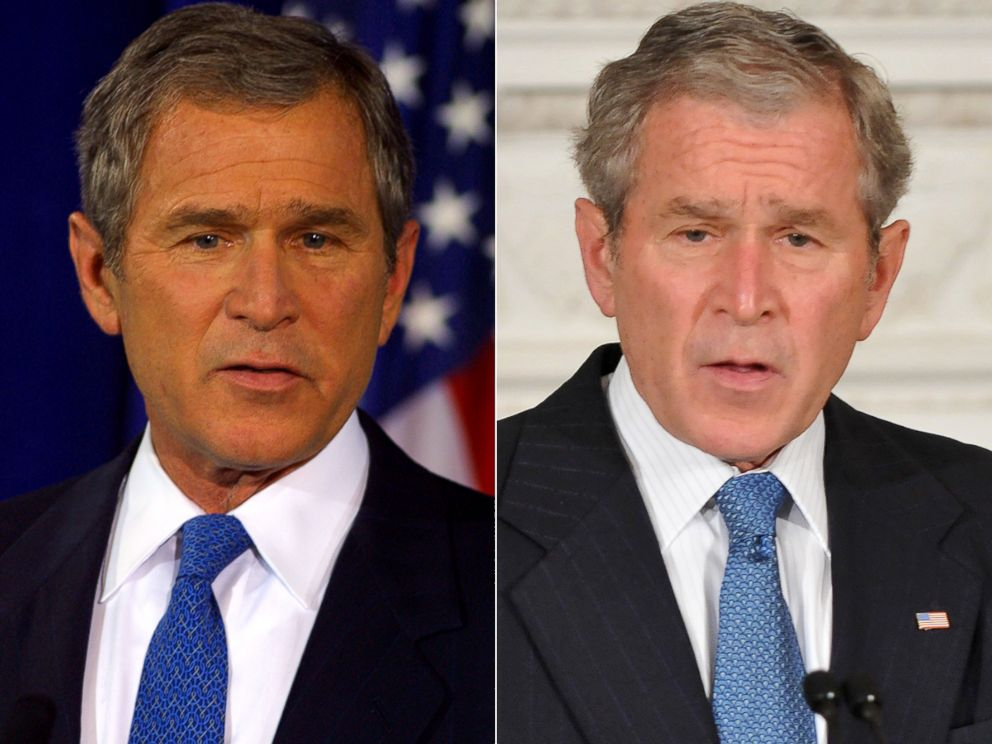 PHOTO: George W. Bush is seen at the start of his presidency, left, and at the end, right.