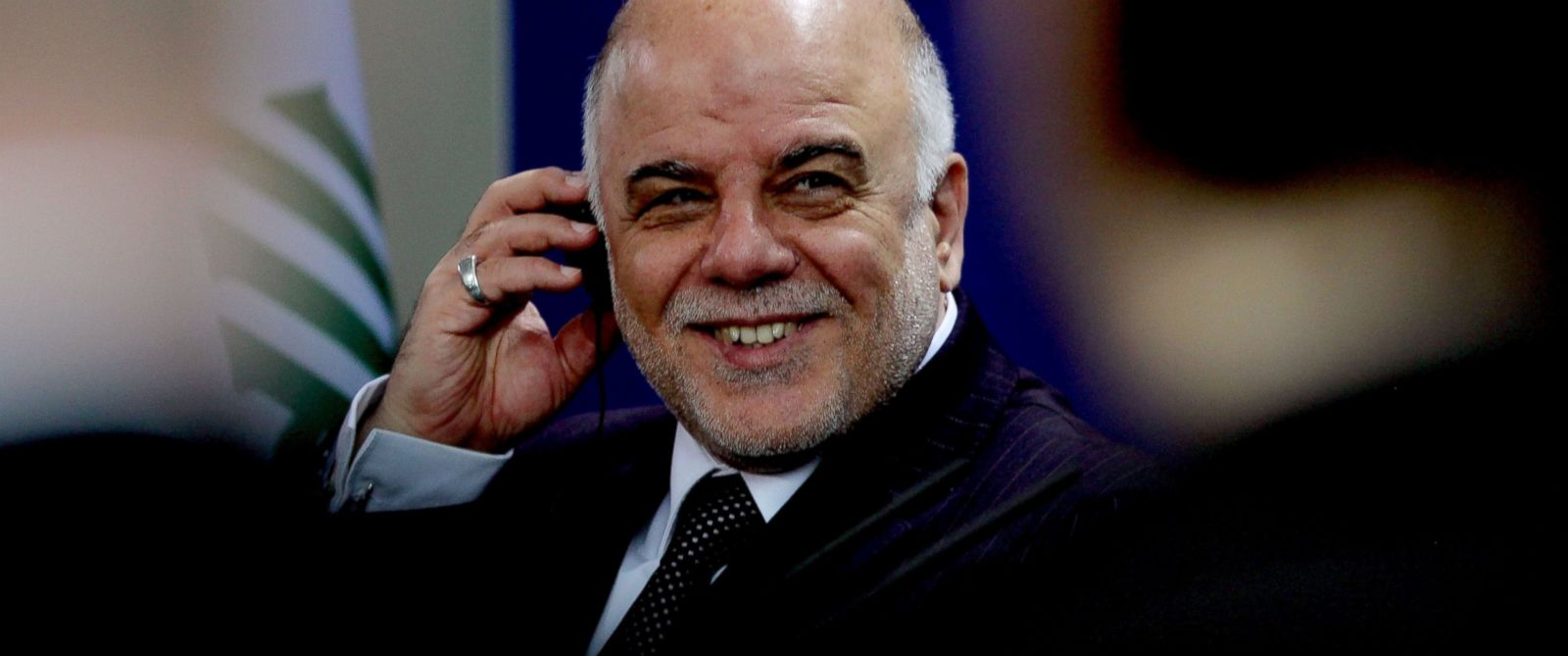 PHOTO: Iraqi Prime Minister Haider al-Abadi is seen during a joint press conference with German Chancellor Angela Merkel at the Chancellery following their talks in Berlin, Germany on Feb. 6, 2015.