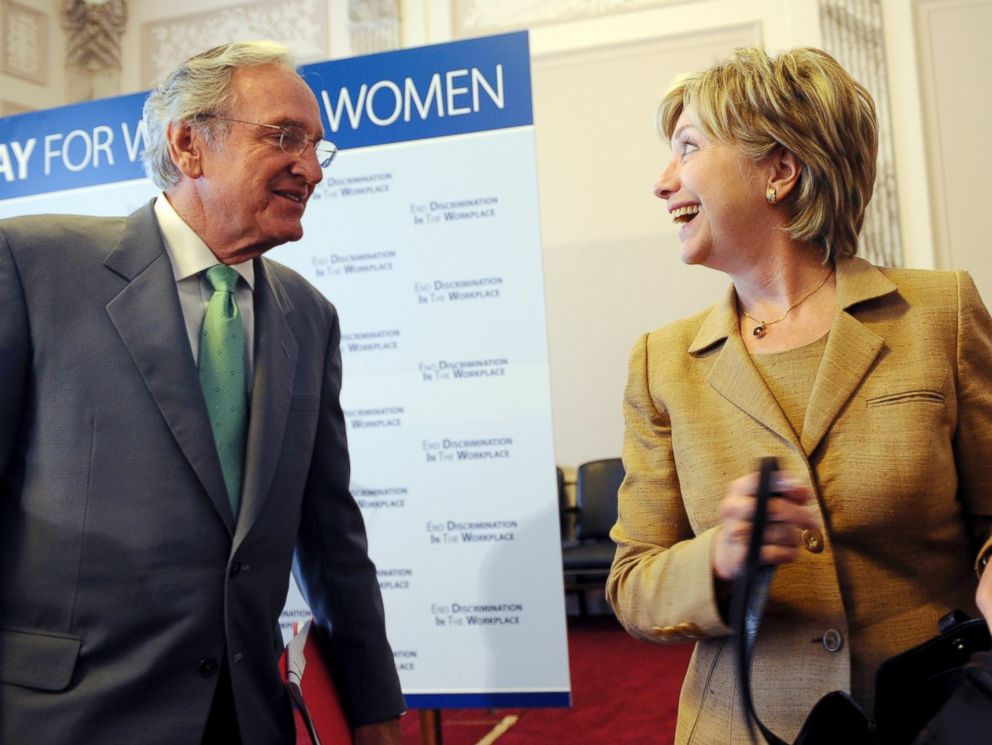 PHOTO: Sen. Tom Harkin, D-Iowa, and Hillary Clinton, leave a news conference in this Sept. 10, 2008 file photo.