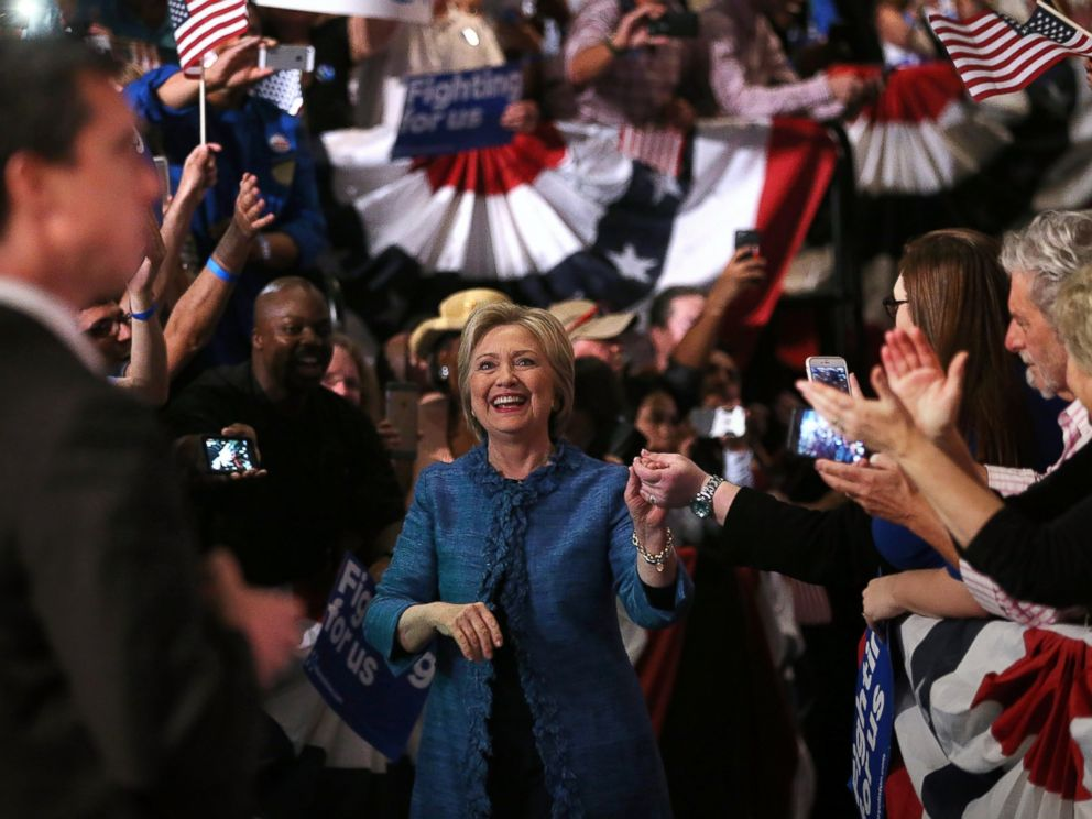 PHOTO: Democratic presidential candidate Hillary Clinton greets supporters during her primary night gathering, March 15, 2016 in West Palm Beach, Florida.