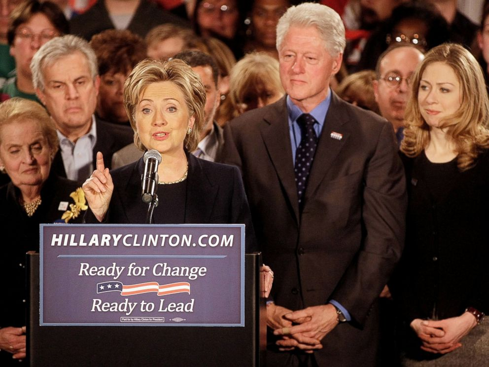 PHOTO: Democratic presidential candidate Sen. Hillary Clinton talks on stage in this Jan. 3, 2008 file photo in Des Moines, Iowa.