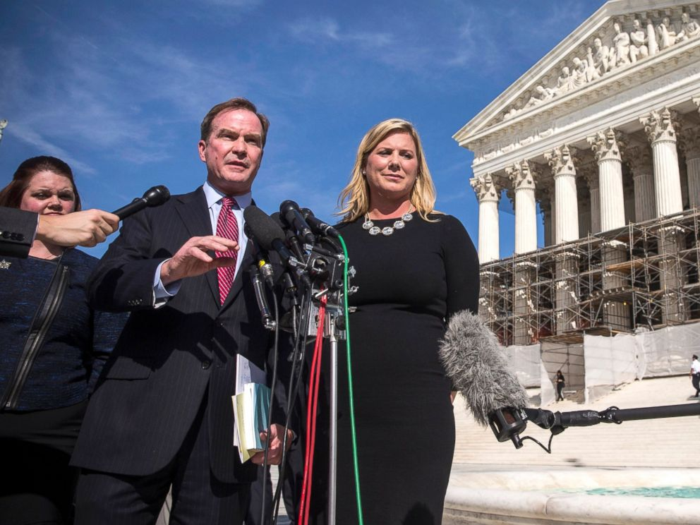 PHOTO: Michigan Attorney General Bill Schuette and Jennifer Gratz, CEO of XIV Foundationspeak, speak during a press conference outside the Supreme Court, Oct. 15, 2013, in Washington.