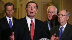 PHOTO: Sen. John Barrasso (2nd L) speaks to members of the media as (L-R) Sen. John Thune, Senate Majority Whip John Cornyn and Senate Majority Leader Mitch McConnell listen on Capitol Hill in Washington, Jan. 20, 2016.
