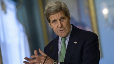 PHOTO: U.S. Secretary of State John Kerry speaks to the press with President of Liberia Ellen Johnson Sirleaf (not shown) at the U.S. State Department Feb. 27, 2015 in Washington.