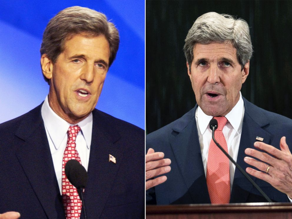 PHOTOJohn Kerry?s hair was just slightly darker when he accepted the Democratic presidential nomination in 2004 (left) as compared to the full head of grey hair he has now as Secretary of State (seen in Cairo on July 25, 2014)