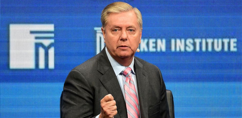 PHOTO: Sen. Lindsay Graham speaks at the 2016 Milken Institute Global Conference in Beverly Hills, California, May 3, 2016.