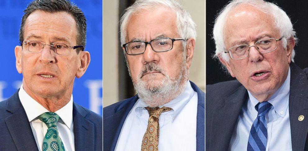 PHOTO: Pictured (L-R) are Dannel Malloy in Boston, May 1, 2016, Barney Frank in New York City, June 1, 2015 and Bernie Sanders in Fort Wayne, Ind., May 2, 2016.