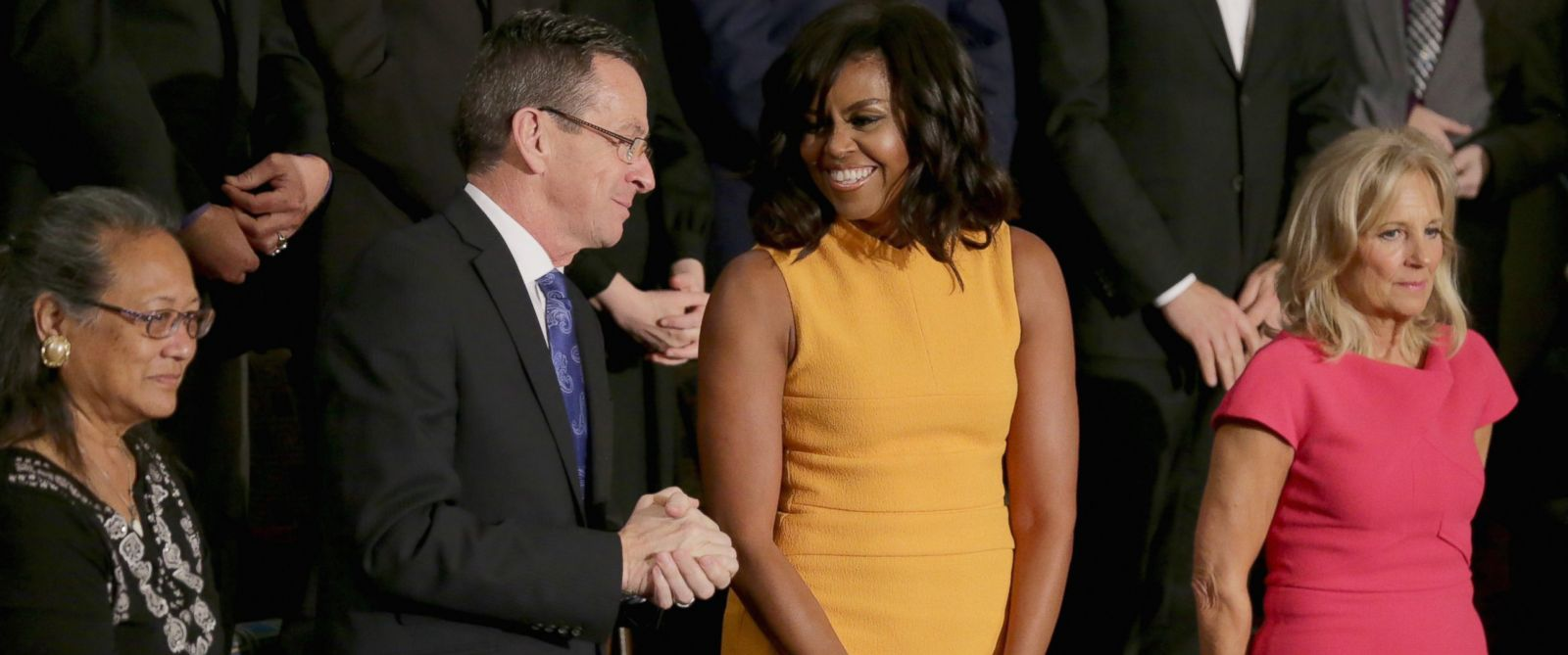 PHOTO: Gov. Dannel P. Malloy of Connecticut, first lady Michelle Obama, and Dr. Jill Biden at the State of the Union speech, Jan. 12, 2016 in Washington, DC.