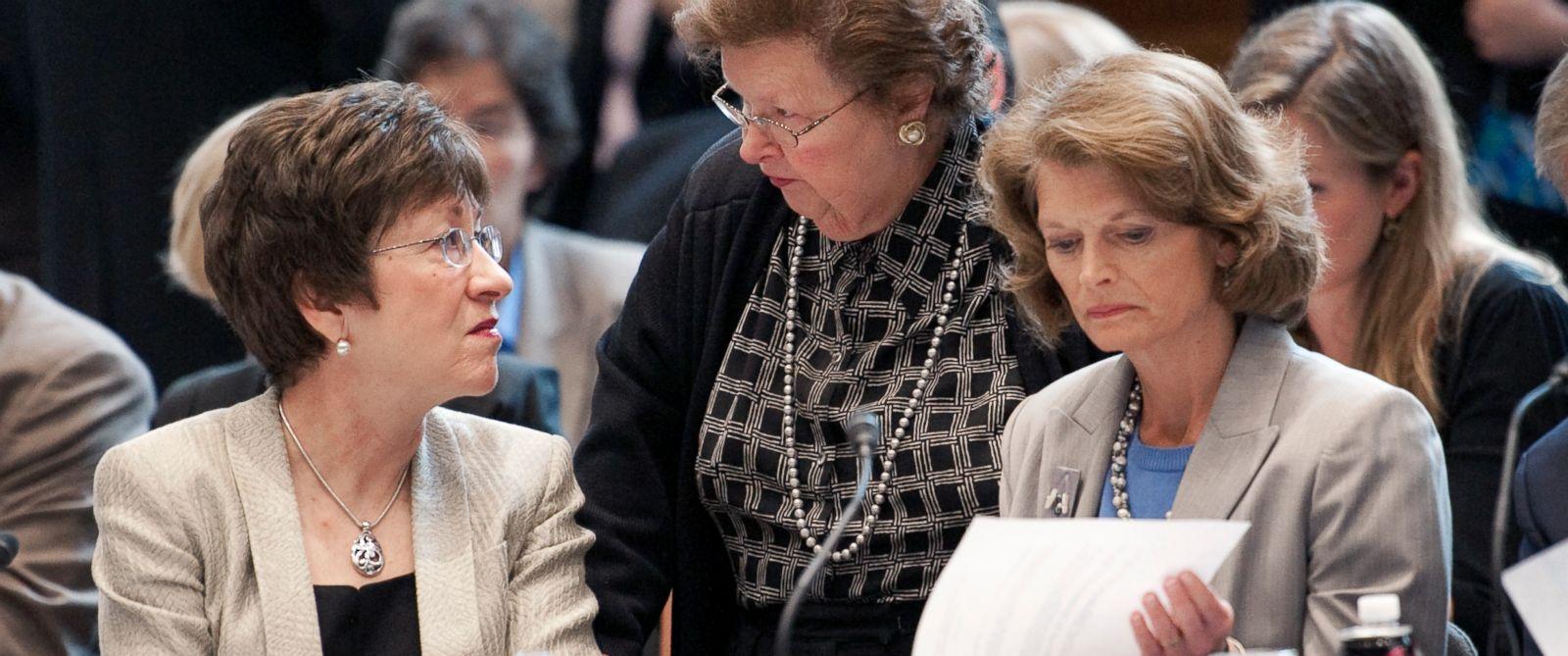 PHOTO: From left, Sen. Susan Collins, Sen. Barbara Mikulski, and Sen. Lisa Murkowski speak at a Senate Appropriations committee in Washington, April 26, 2012.