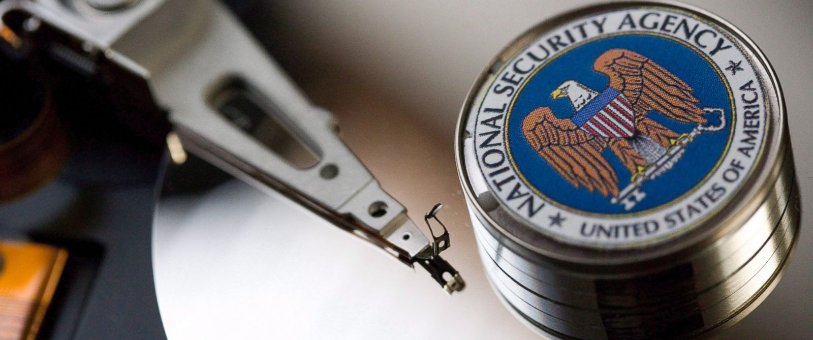 PHOTO: A computer hard drive with the logo of the National Security Agency (NSA) is seen Dec. 12, 2014 in Bonn, Germany.