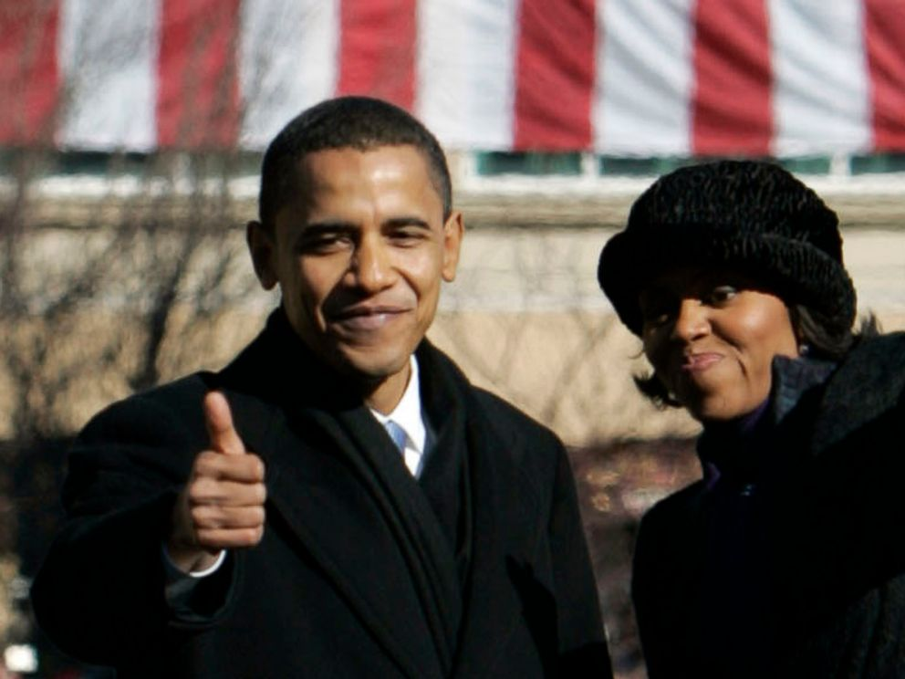 PHOTO: President Barack Obama gives a thumbs up to the crowd with his wife Michelle after announcing his candidacy for the 2008 Presidential nomination at the Old State Capitol in Springfield, Illinois, Feb. 10, 2007.