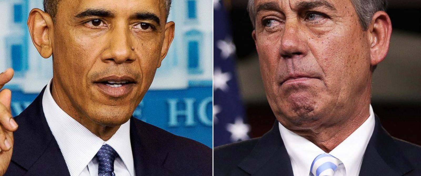 PHOTO: President Barack Obama, left, speaks at the White House in Washington, D.C. on Aug. 1, 2014. Rep. John Boehner, right, is pictured in Washington, D.C. on July 31, 2014.