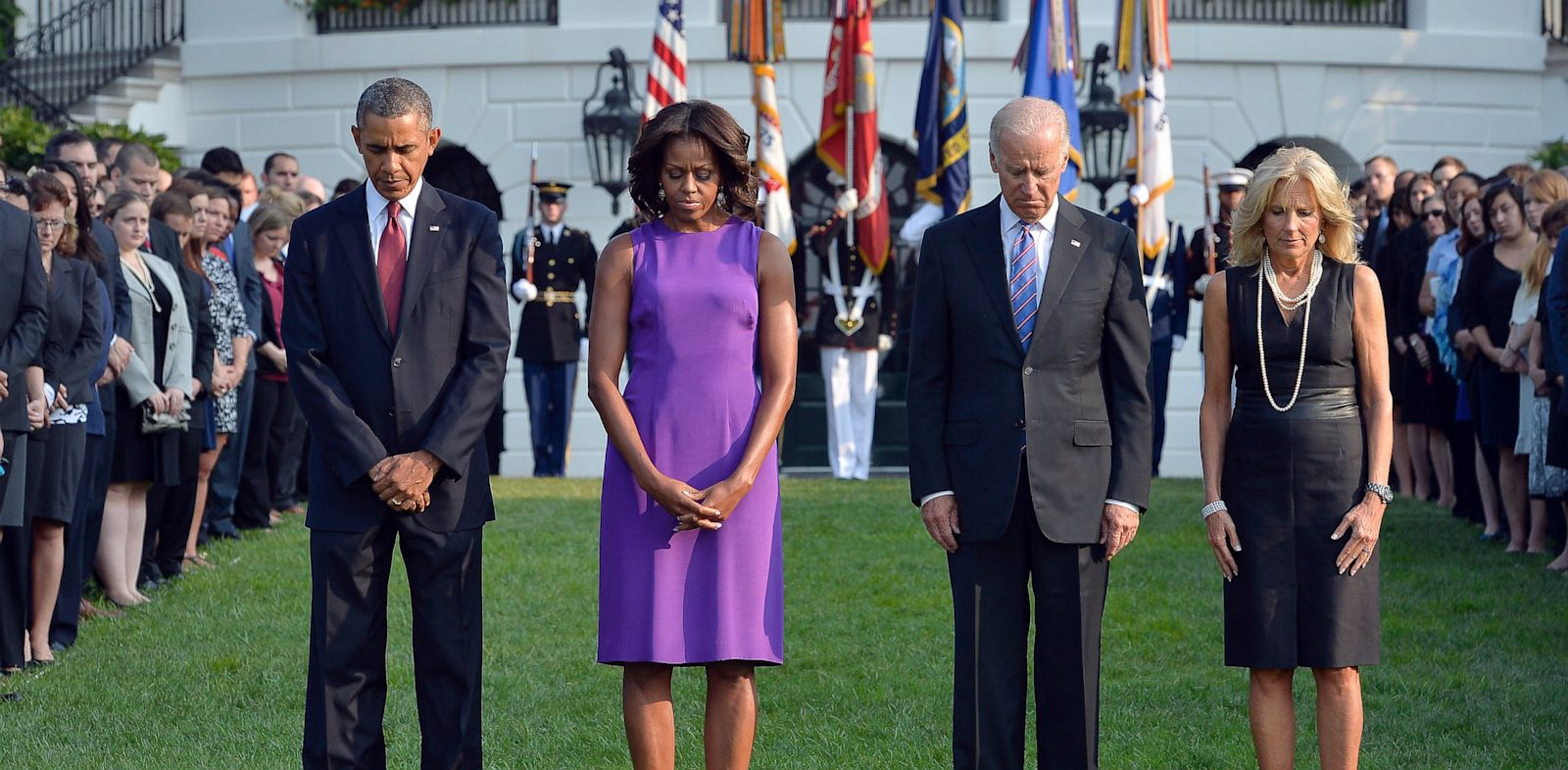 PHOTO: President Barack Obama, First Lady Michelle Obama, Vice President Joe Biden and Jill Biden observe a moment of silence to mark the 12th anniversary of the 9/11 attacks on the South Lawn of the White House in Washington, DC, Sept. 11, 2013.