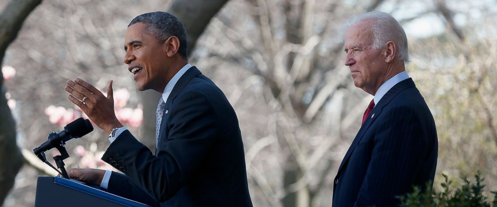 PHOTO: Barack Obama, left, and Joe Biden, right, are pictured in the Rose Garden of the White House on April 1, 2014 in Washington, D.C.