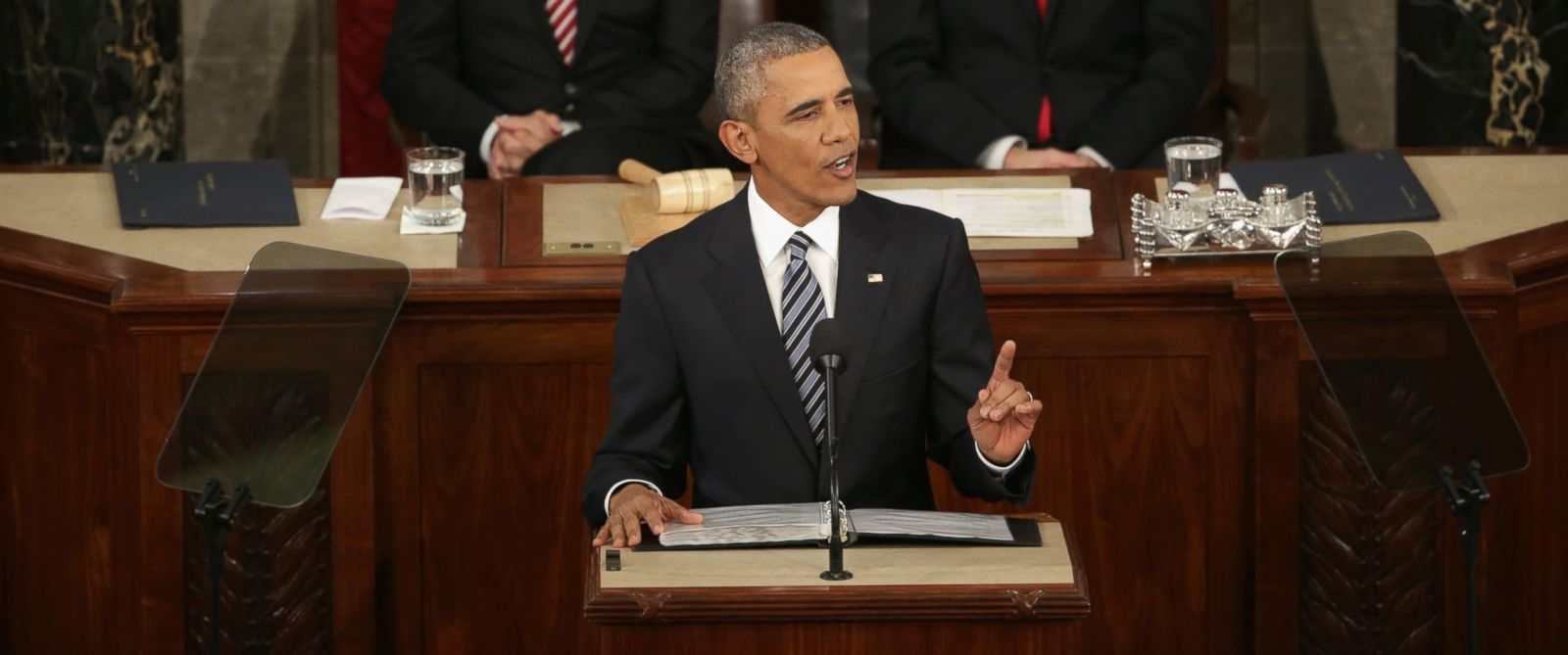 PHOTO: President Barack Obama delivers the State of the Union speech in the House chamber of the Capitol, Jan. 12, 2016 in Washington, DC. Also pictured are Vice President Joe Biden, left, and Speaker of the House Rep. Paul Ryan.