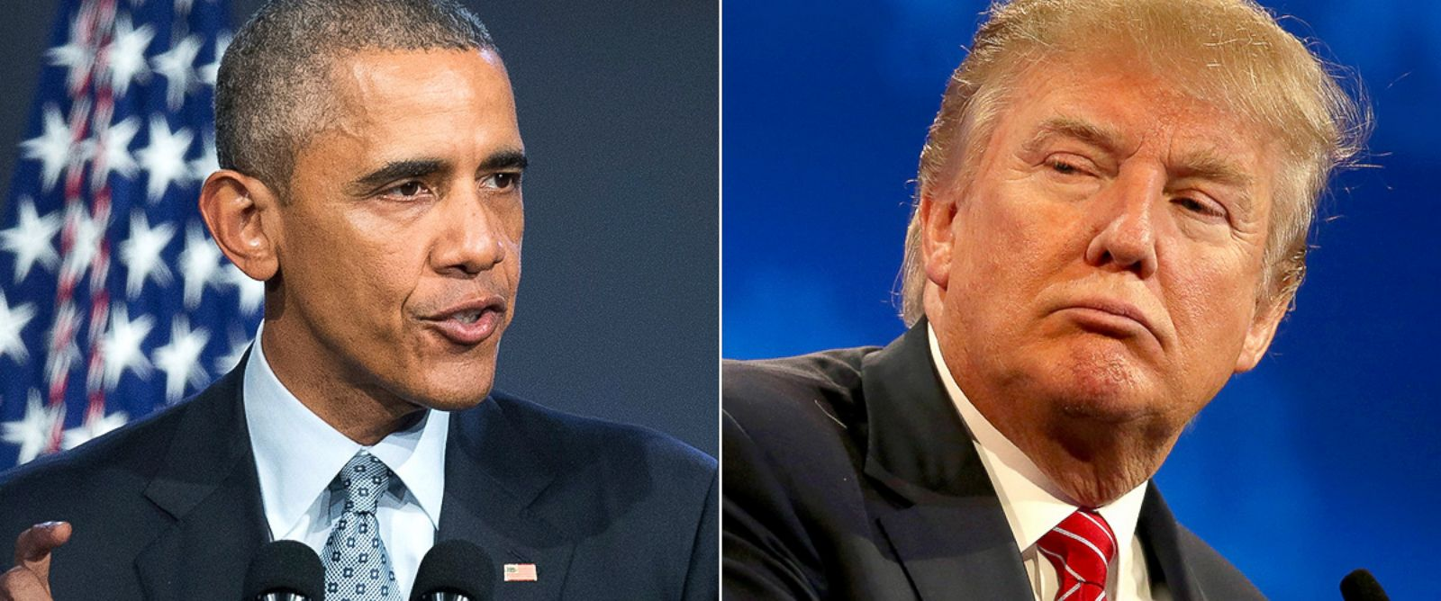 PHOTO: President Obama holds a press conference in Chicago on Oct. 27, 2015 and Donald Trump partakes in the third GOP debate, Oct. 28, 2015, in Boulder, Colo.