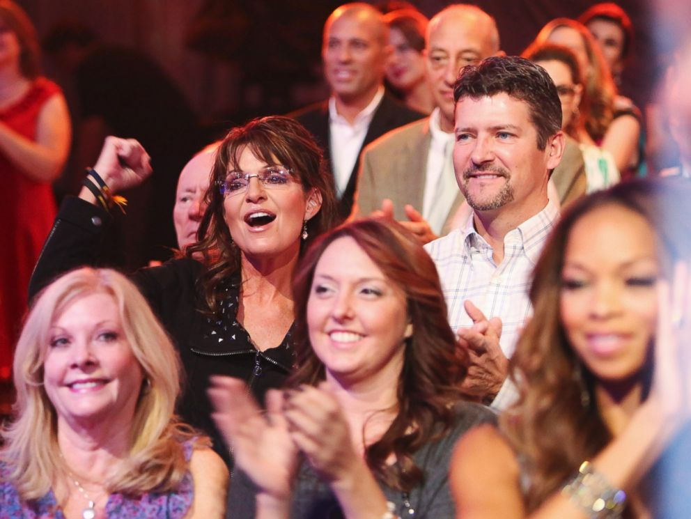 PHOTO: Sarah and Todd Palin watch Bristol Palin and Mark Ballas on Dancing with the Stars: All-Stars - The Results Show, on Oct. 16, 2012.
