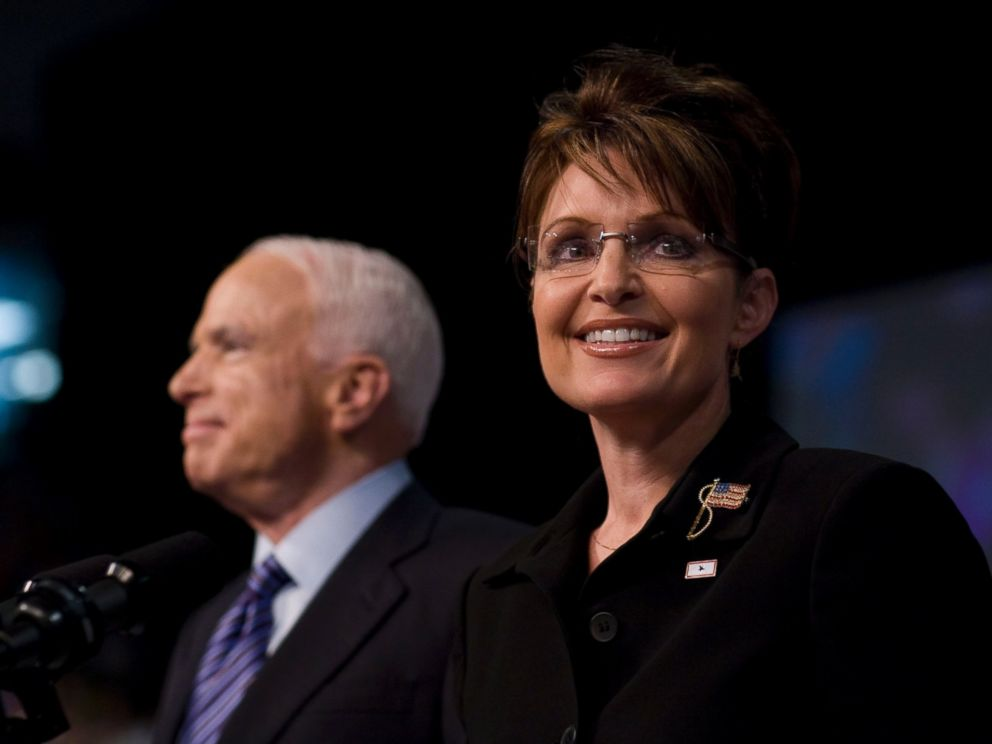 PHOTO: John McCain is pictured with Sarah Palin on Aug. 29, 2008 at a rally in Dayton, Ohio. McCain named Palin as his vice presidential running mate at the rally.